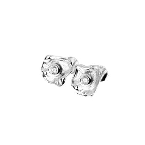 Metal sterling silver earrings with white zirconia stone