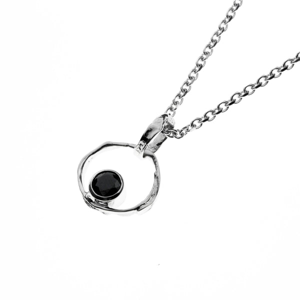 Silver Necklace with black cubic zirconia stone