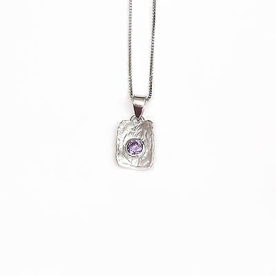 Silver Necklace with purple cubic zirconia stone