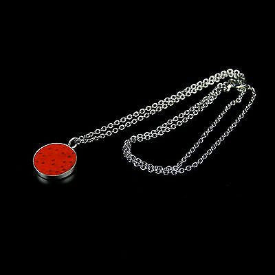 Silver necklace with red fish skin