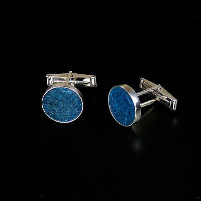 Cufflinks with blue fish skin