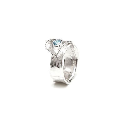 Metal silver ring with blue cubic zirconia stone