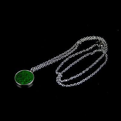 Silver necklace with green fish skin