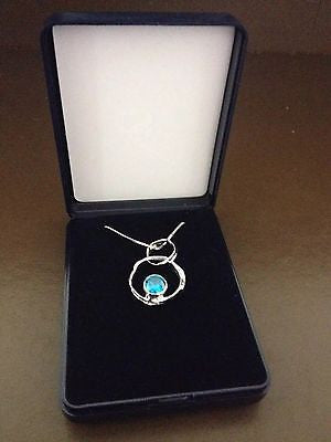 Silver Necklace with blue cubic zirconia stone