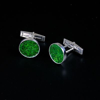 Cufflinks with green fish skin