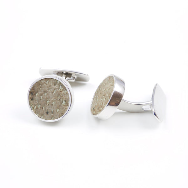 Cufflinks with natural fish skin