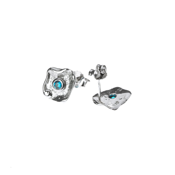 Metal sterling silver earrings with blue zirconia stone