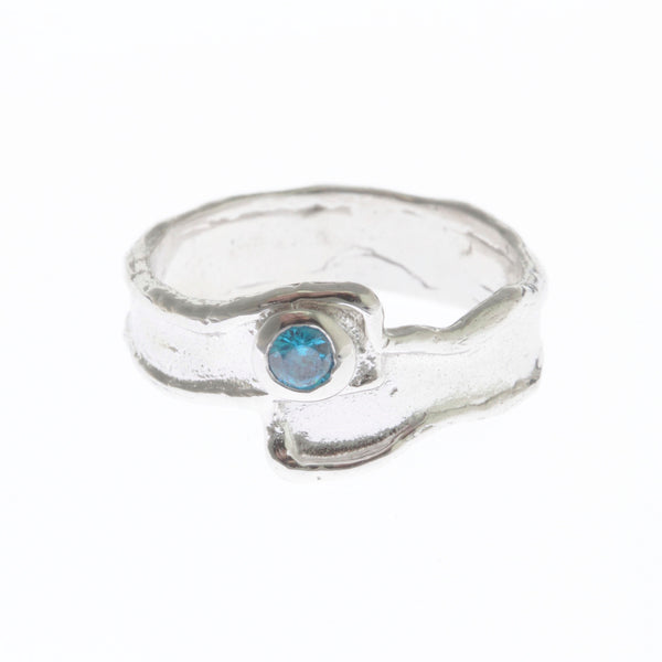 Silver ring with zirconia stone - Swiss Blue Stone