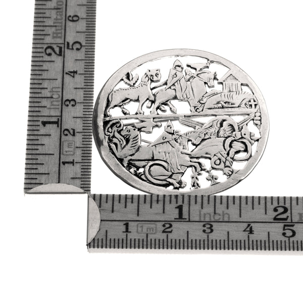Silver Viking brooch with knight