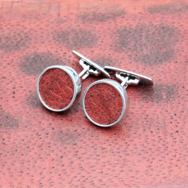 Cufflinks with red fish skin