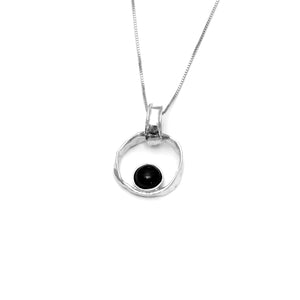 Black lava pearl necklace