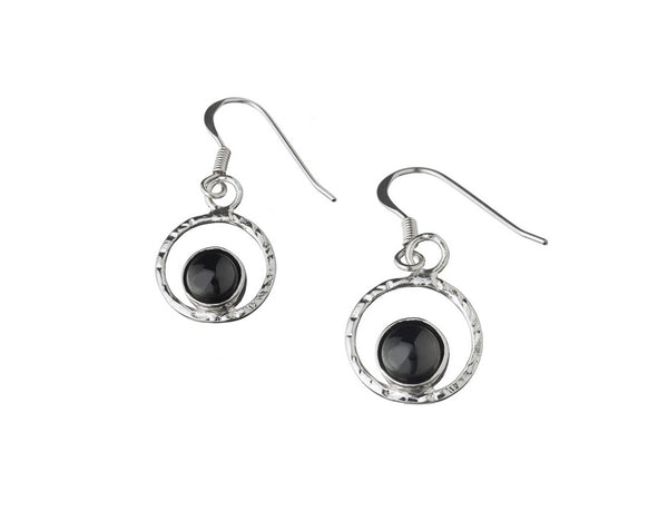 Black lava pearl earrings