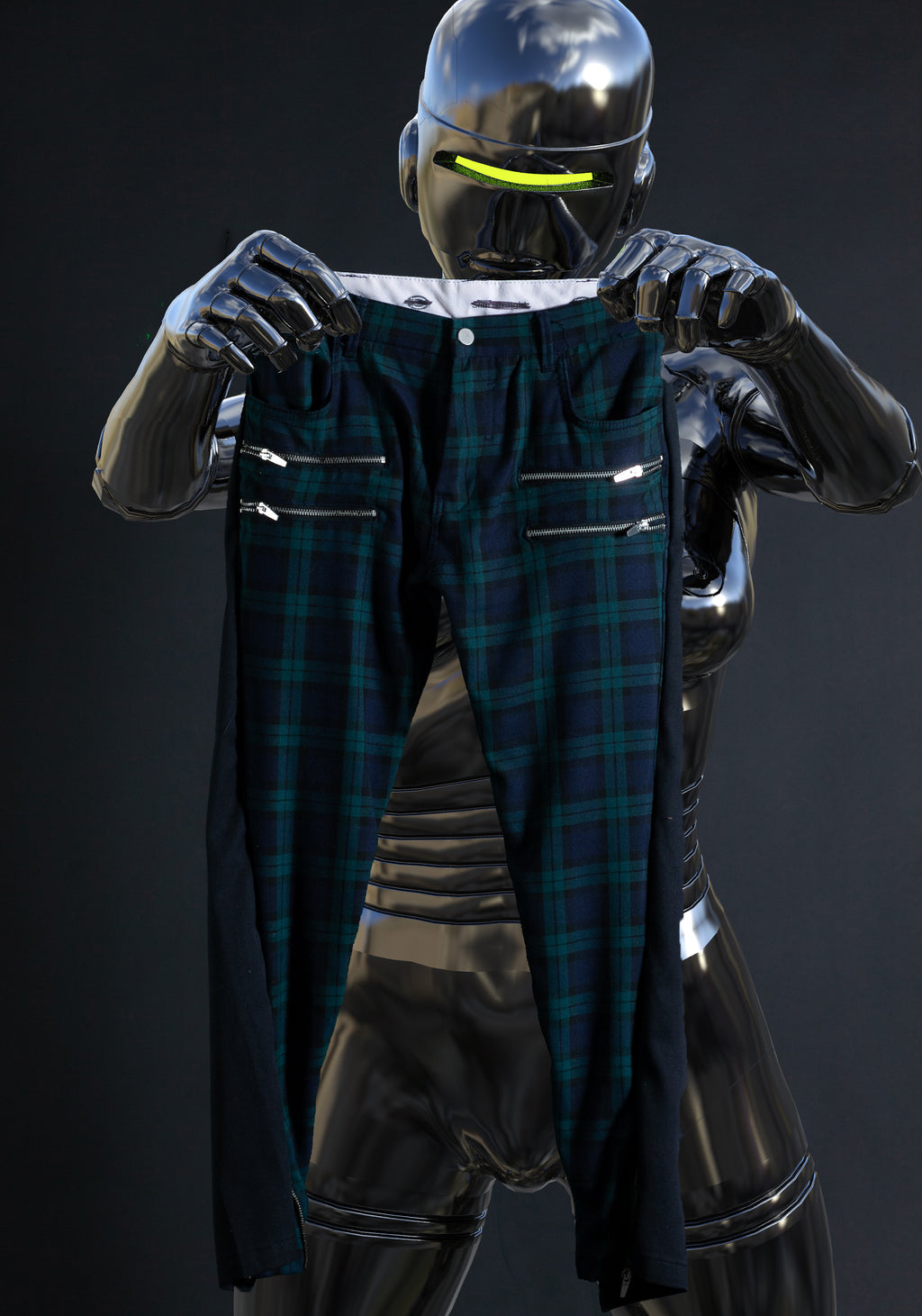 two-sided plaid trousers