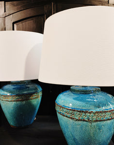 Pair Pottery Lamps Turquoise Teal