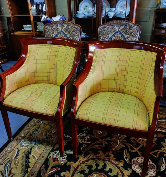 PAIR Designer Barrel Chairs in Yellow Plaid