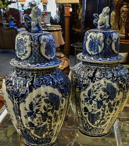 PAIR Delfts Royal Sphinx Ginger Jars