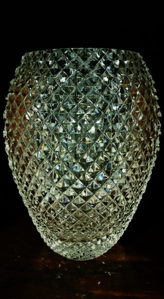 Vintage Diamond Cut Crystal Vase