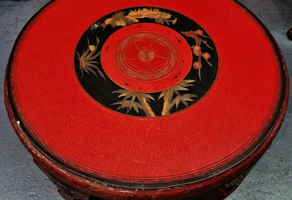 Asian Red Lacquer Tea Coffee Table