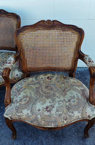 PAIR French Style Cane Back Chairs