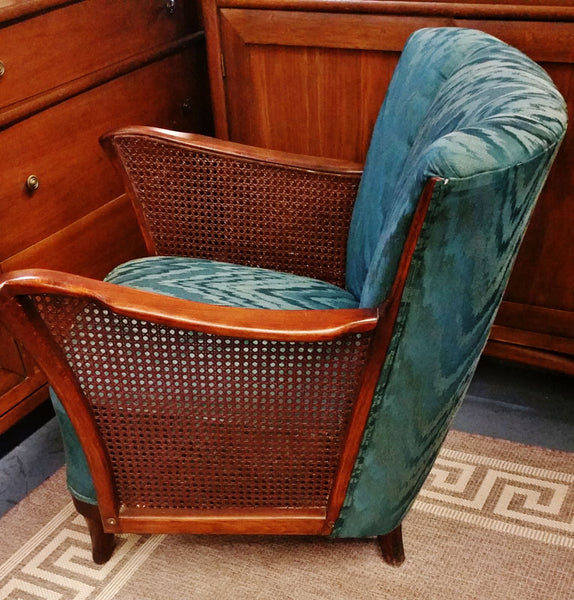 Antique Cane and Wood Channel Back Chair