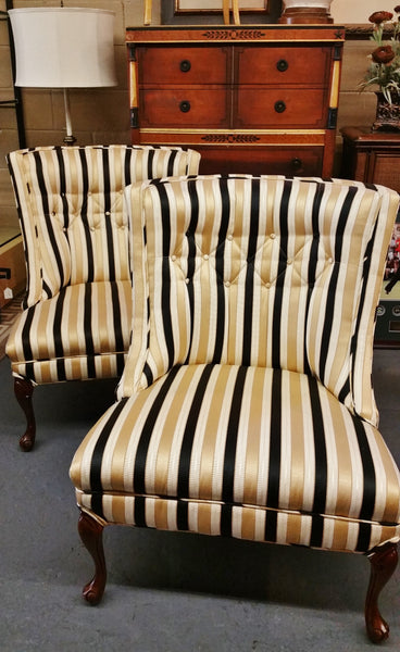 PAIR Mid-Century Tufted Slipper  Chairs