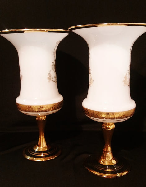 PAIR Francois Boucher French Opaline Gilt Vases