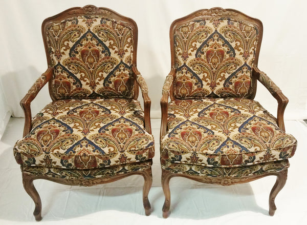 PAIR French-Style, Key City Upholstered Armchairs