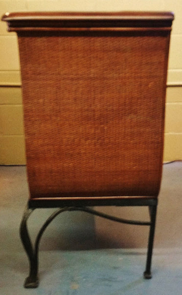Wood and Wicker Server Sideboard Liquor Cabinet
