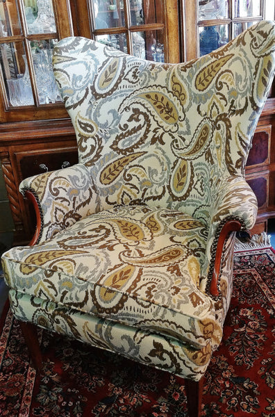 PAIR Mid-Century Paisley Butterfly Wing Back Chair