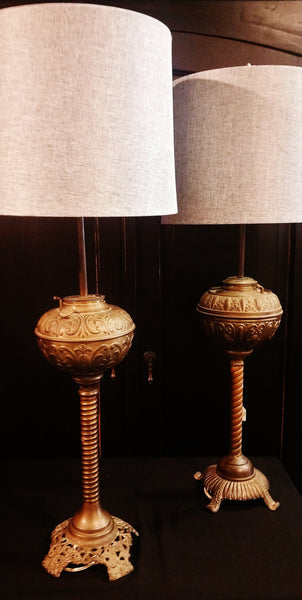 PAIR Converted Brass Tone Oil Lamps
