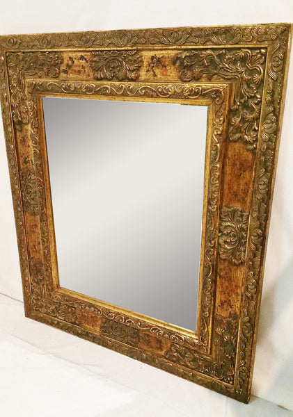 Ornate Gold Carved Wood Rectangular Mirror