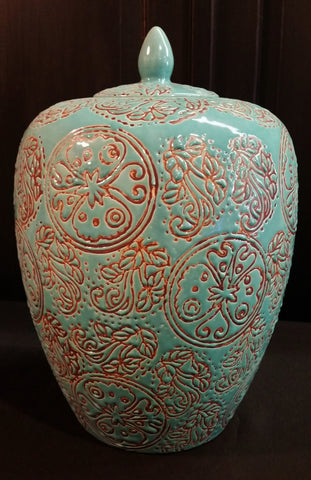 Asian Urn Vase with Lid