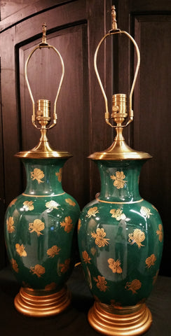 PAIR Vintage Green Gold Butterfly Urn Lamps