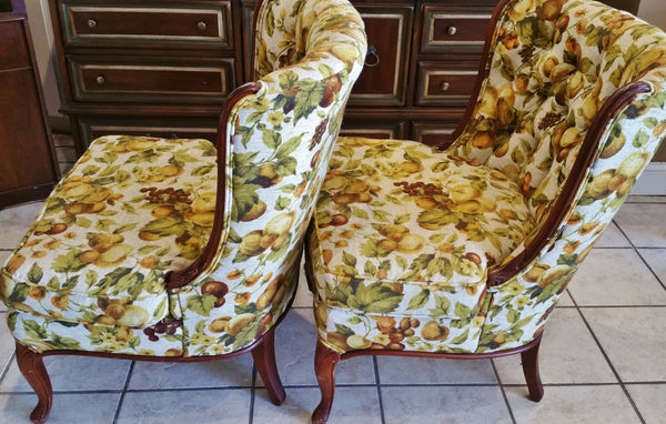 PAIR Mid-Century Retro Fruit Floral Slipper Chairs