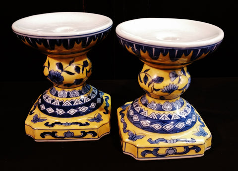 Blue Yellow Asian Chinoserie Candle Holder