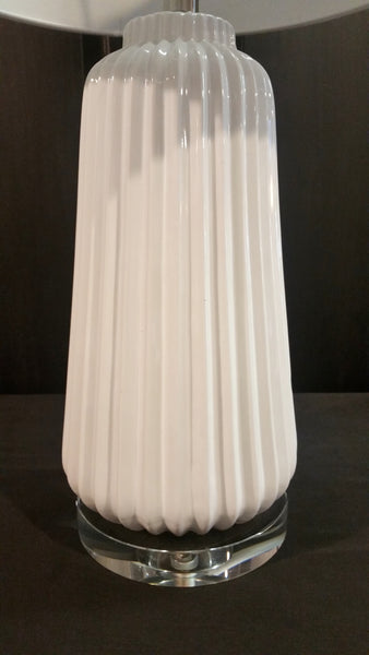 PAIR Safavieh Contemporary White Ribbed Lamps