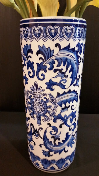 Blue White Asian Floral Chinoserie Umbrella Stand