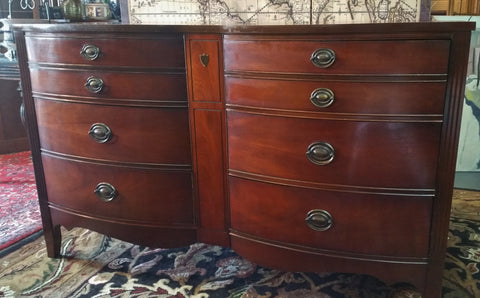 Mahogany Double Bow Front Dresser Console Dixie Furniture