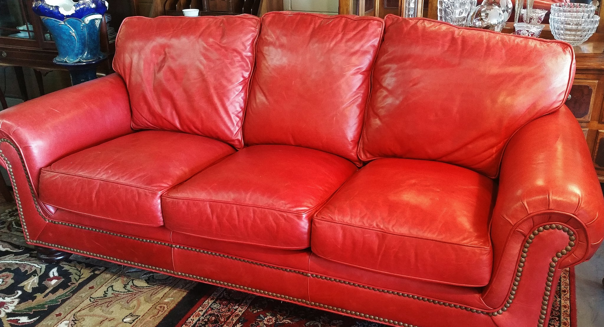 Custom Roll Arm Leather Sofa Nailhead Trim