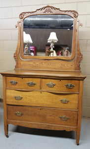 Antique Oak Dresser and Mirror Serpentine Drawers