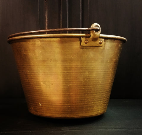 Antique Vintage Brass Fire Pail Bucket
