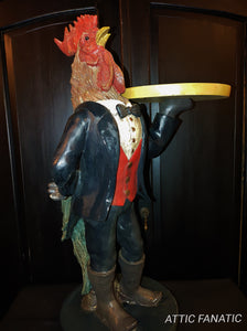 Rooster Butler Waiter Figurine with Tray