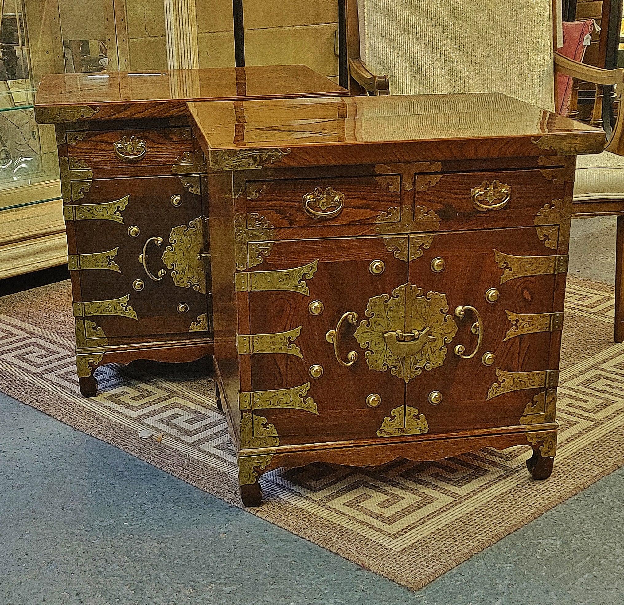 Vintage Wood and Brass Nightstands Asian Chinoiserie