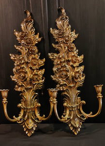 Vintage Syroco Wall Sconces 2-Candle
