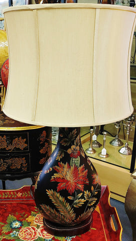 Oversized Black Floral Lamp