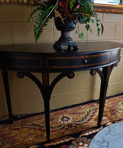 Black Gold Demilune Console Table