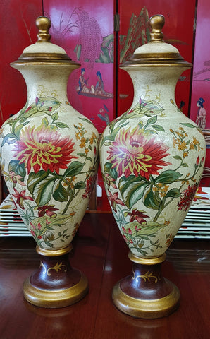 Floral Covered Urn Raymond Waites Designer