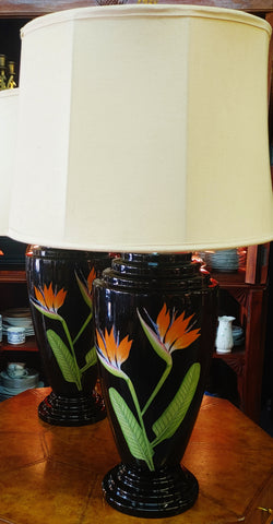 Botanical Floral Lamps Bird of Paradise Motif