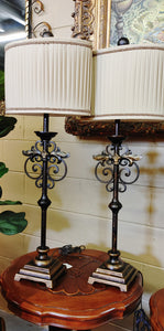 Buffet Lamps Iron Scroll Pleated Shades