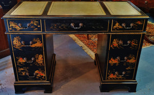 Vintage Black Lacquer Desk Asian Chinoiserie